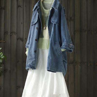純棉雙排扣牛仔外套寬鬆拼接中長版外搭-設計所在
