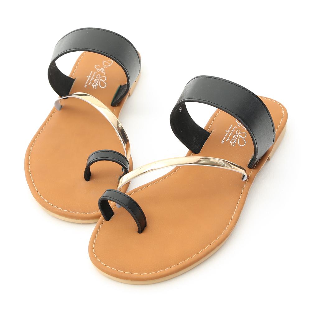 D+AF 夏日漫遊.金屬飾條套指涼拖鞋*黑