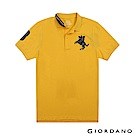 GIORDANO 男裝經典拿破崙撞色刺繡彈力萊卡POLO衫-06 水仙花黃