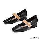 達芙妮DAPHNE 粗跟鞋-知性方頭撞色繫帶瑪莉珍粗跟鞋-黑色