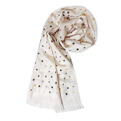 COACH 經典緹花字樣 星星羊毛流蘇披肩圍巾-白色