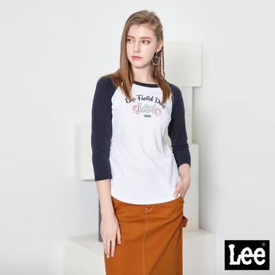 Lee短T FIELD DAY七分袖圓領TEE 女款 丈青