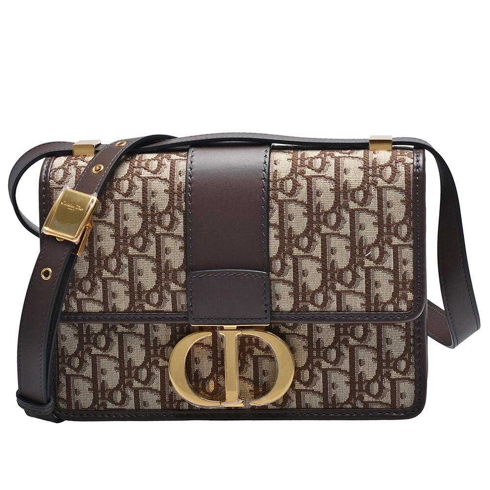 Dior 30 MONTAIGNE系列經典OBLIQUE緹花布小牛皮飾邊肩背包(棕色)