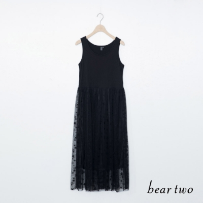 beartwo-星星蕾絲裙擺洋裝-黑