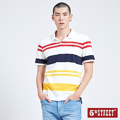 5th STREET 拼色條紋POLO衫-男-白色