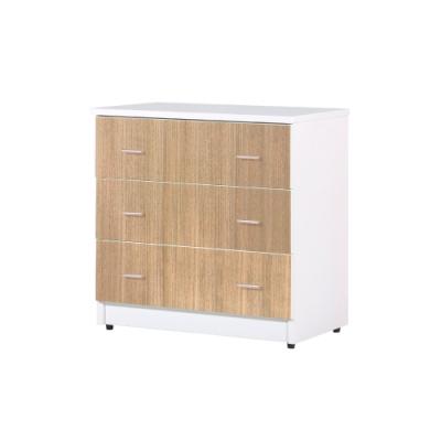 韓菲-柚木屜白色三屜塑鋼衣櫃-81.5x48x81.5cm