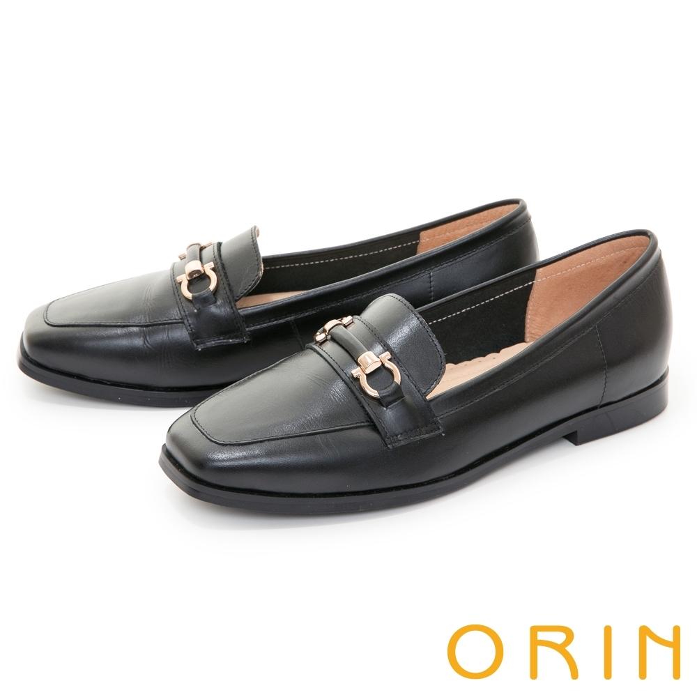ORIN 馬銜釦真皮百搭方頭 女 平底鞋 黑色