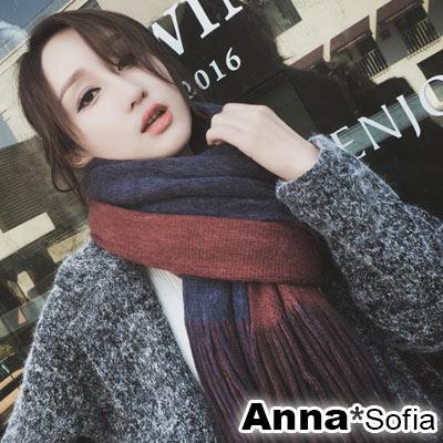 AnnaSofia 雙面色流蘇設計 厚織仿羊絨大披肩圍巾小毯子(深藍+酒紅)