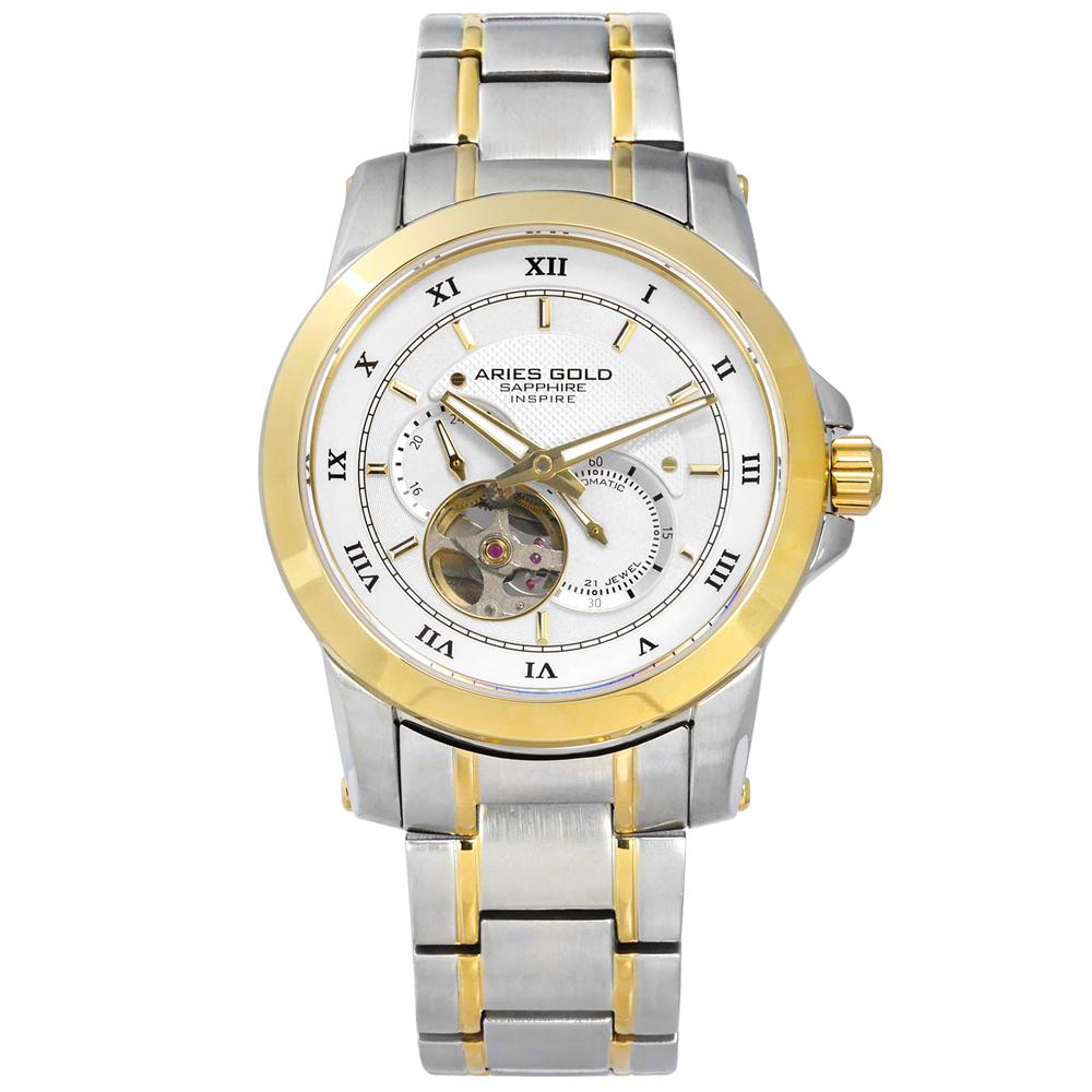 ARIES GOLD 自動上鍊 鏤空機芯 不鏽鋼機械錶-銀白x鍍金/41mm