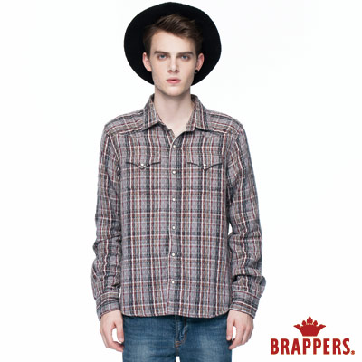 BRAPPERS 男款 雙層格長袖襯衫-灰