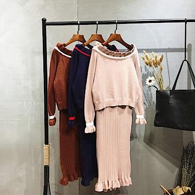 AH dream夢想女孩 純色一字領針織衫連身裙兩件式套裝(3色)