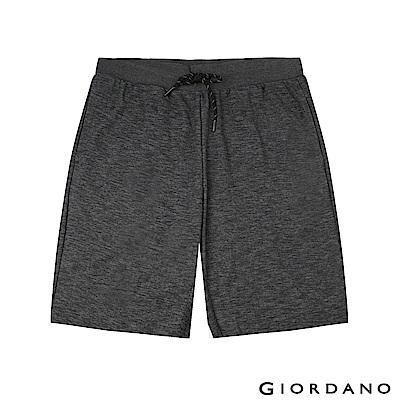GIORDANO 男裝素色休閒針織短褲-42 仿段彩黑