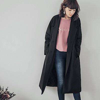 質感西裝翻領鋪棉大衣外套-OB大尺碼