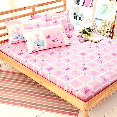 FOCA芭比愛生活-加大-100%精梳純棉三件式枕套床包組