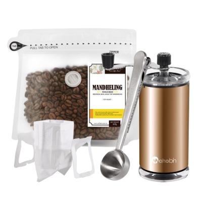 CoFeel 凱飛鮮烘豆黃金曼特寧中深烘焙咖啡豆半磅+磨豆機+咖啡匙夾子+濾掛咖啡袋10入