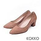 KOKKO - 都會時尚羊麂皮粗高跟鞋-大地棕