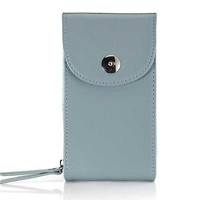 iSPurple 硬式皮革 卡片手機零錢側背包 藍
