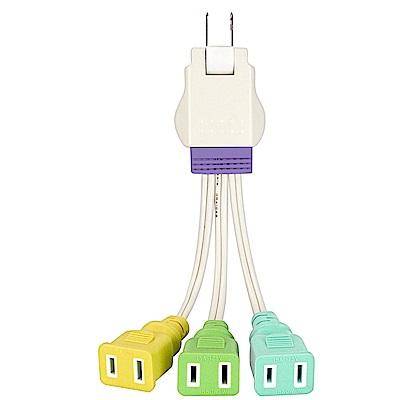 KINYO 1對3插2P任意轉接電源線