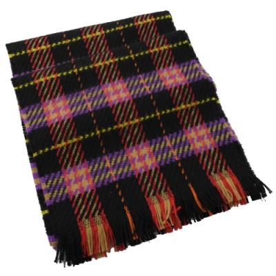 BURBERRY 經典格紋針織流蘇長型羊毛圍巾(黑紅)