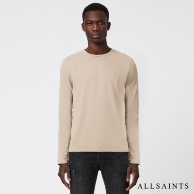 ALLSAINTS  BRACE 簡單時尚公羊頭骨刺繡長袖純棉T恤-淺灰褐