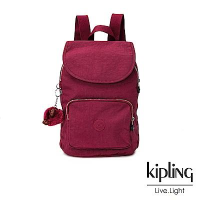 Kipling莓紫素面後背包(中)