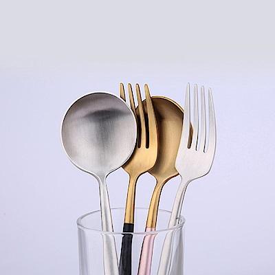 PUSH!餐具不鏽鋼德式磨砂牛排刀叉勺子4件套E109