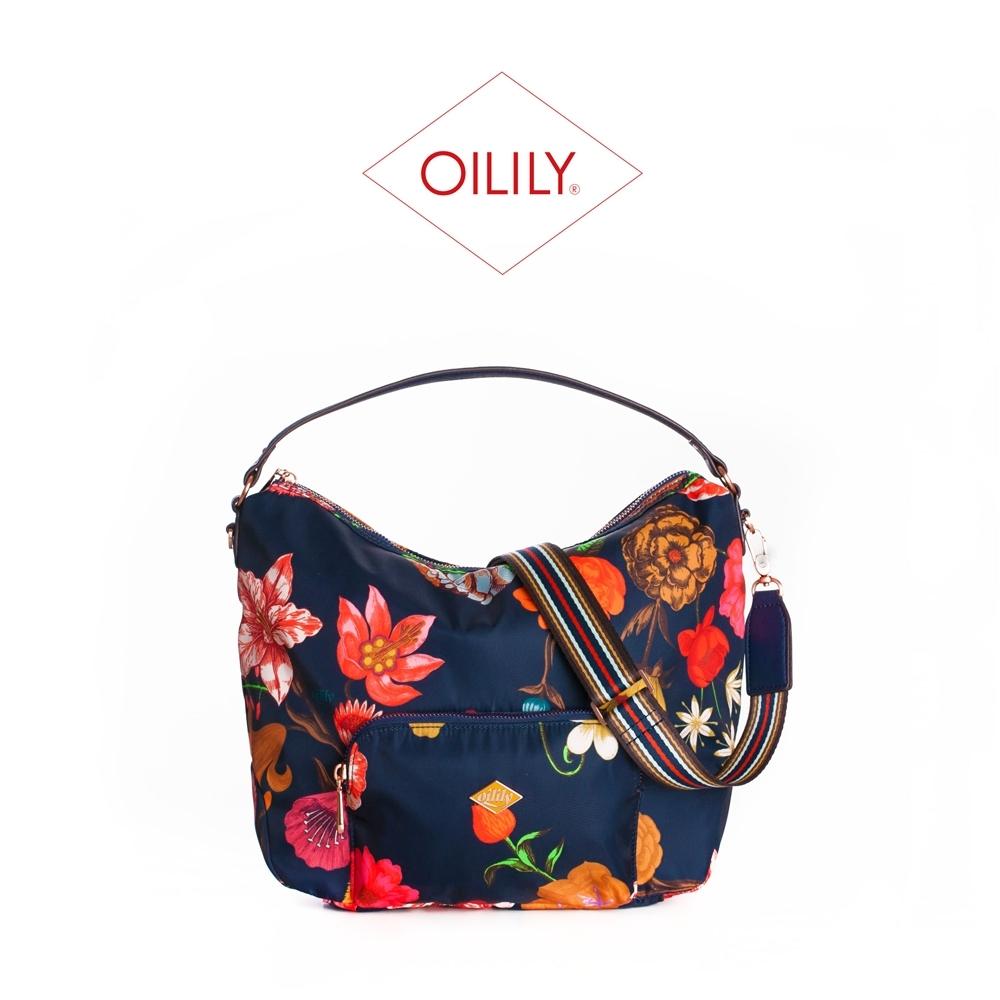 【Oilily】拉鍊式輕便側肩/斜背包_藏青_Winter Bouquet