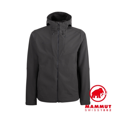 【Mammut】Sapuen SO Hooded Jacket Men 防風透氣軟殼連帽外套 幻影黑 男款 #1011-01050