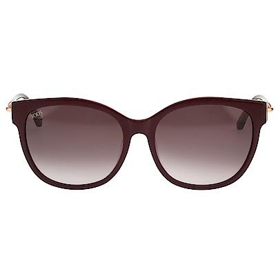 TOD'S 釦環款 小貓眼 太陽眼鏡(酒紅色)TO153F