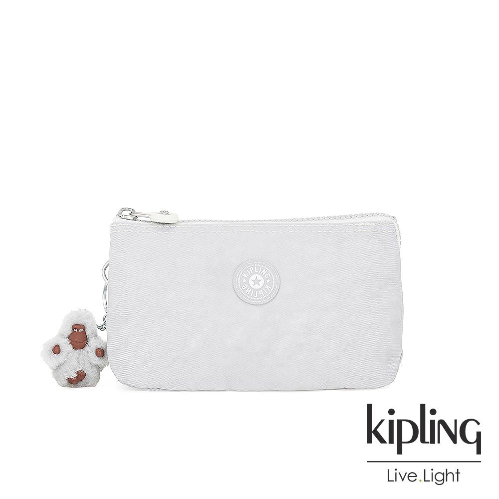 Kipling 知性淺灰撞色三夾層配件包-CREATIVITY L
