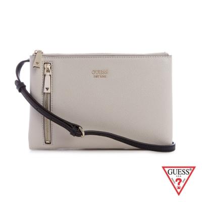 GUESS-女包-素面簡約雙層拉鍊斜背包-卡其 原價2290