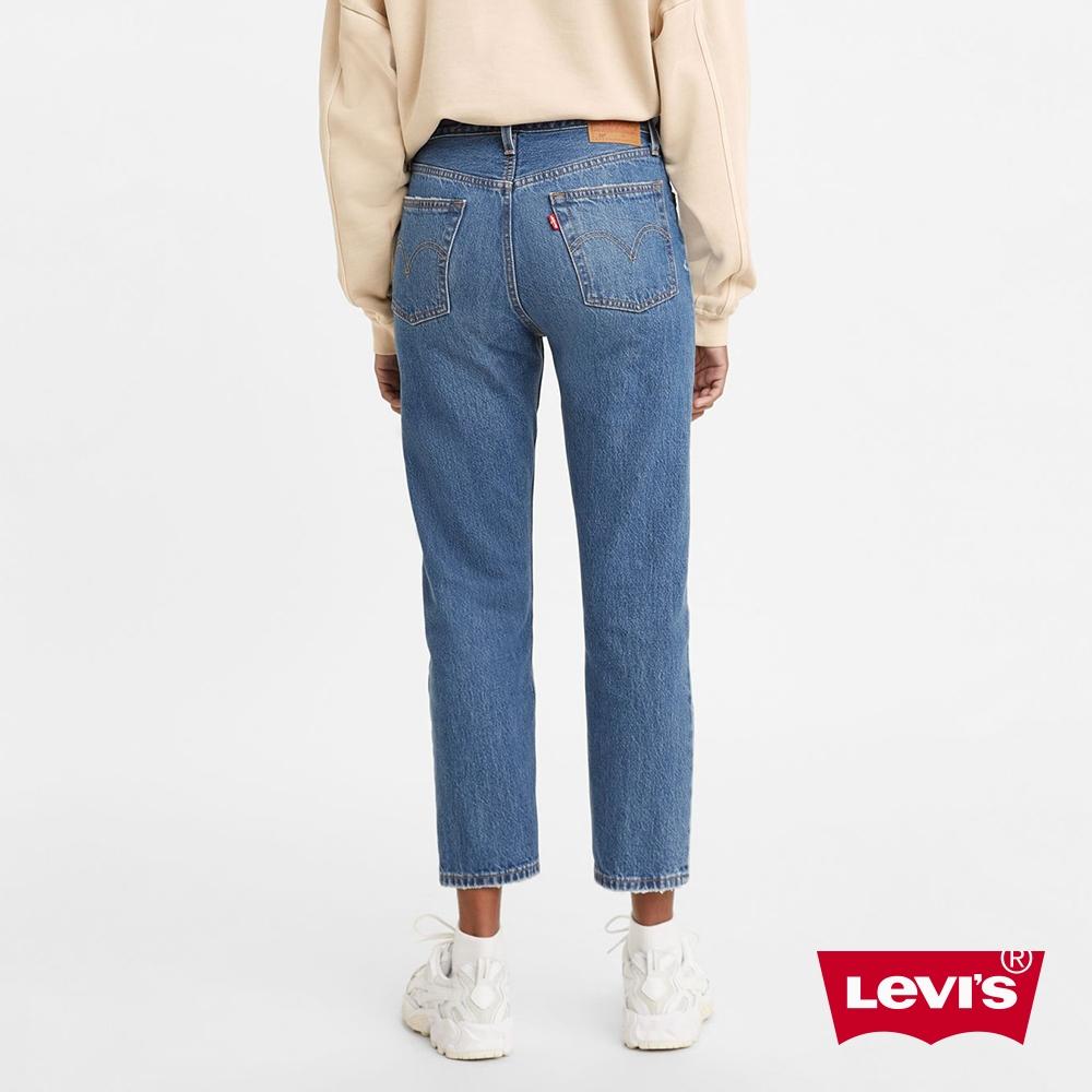 Levis 女款 501Crop高腰排釦合身直筒牛仔長褲 精工微磨損刷破細節 及踝款 彈性布料