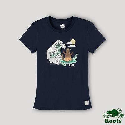 Roots 女裝- 海洋友善系列 衝浪海狸短袖T恤-藍色