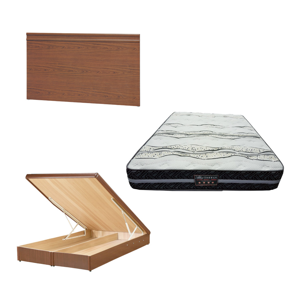 綠活居 可娜6尺雙人加大床台三式組合(床頭片+後掀床底+奈米抗菌獨立筒)五色可選