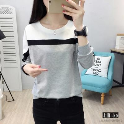 JILLI-KO 拼色造型長袖T恤- 灰/綠