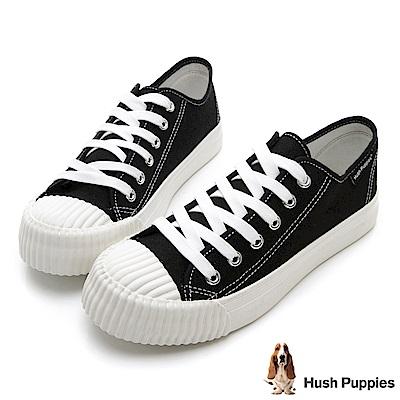 Hush Puppies 復古膠底餅乾鞋-黑色