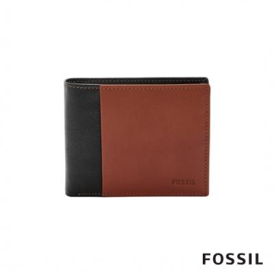 FOSSIL WARD 真皮帶翻轉證件格RFID男夾-黑色X咖啡色