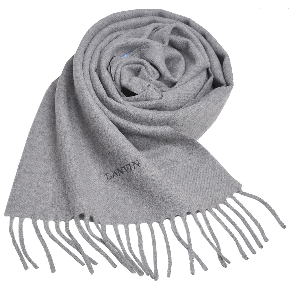 LANVIN 義大利製品牌字母LOGO刺 繡高質感羊毛圍巾(灰色)