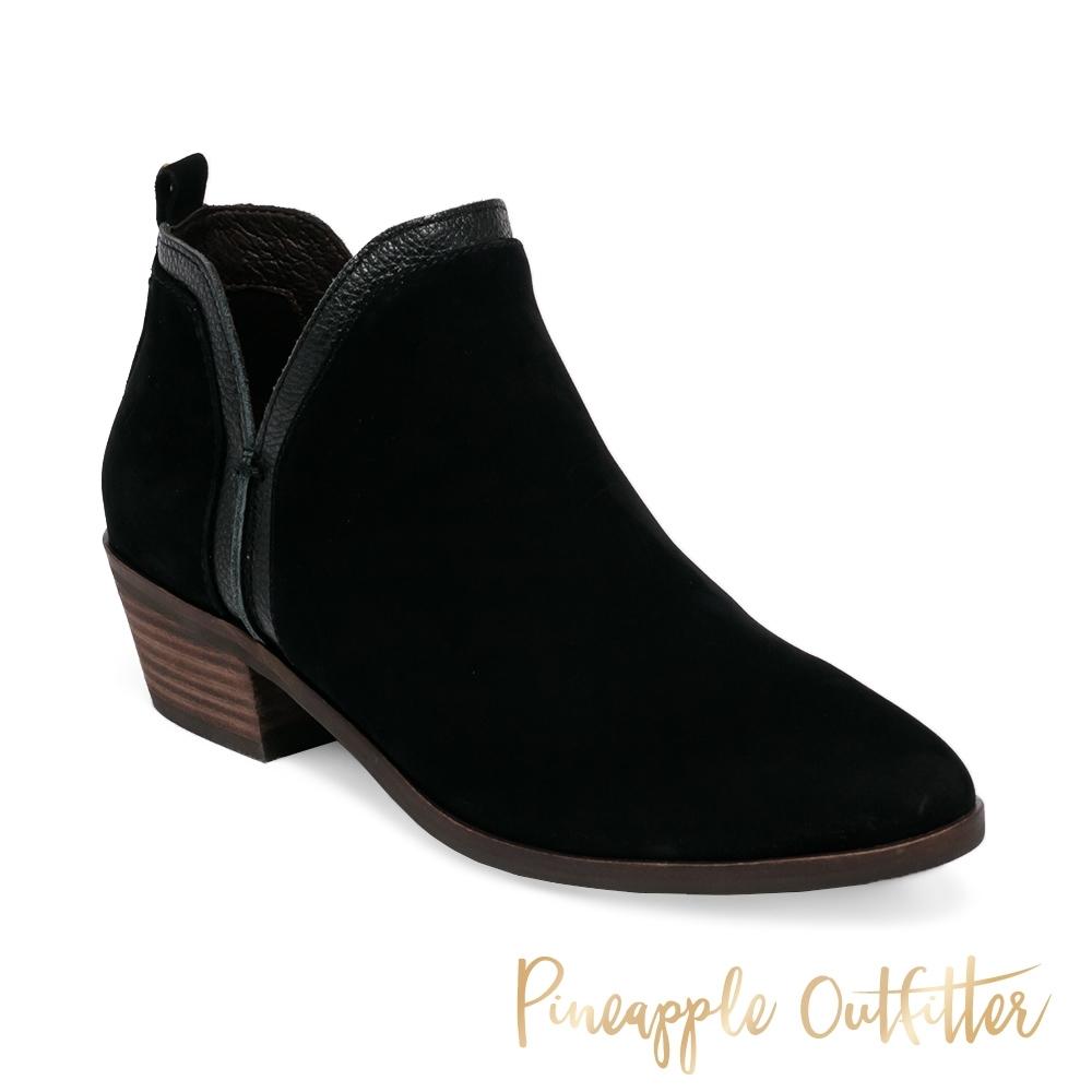 Pineapple Outfitter-BESSIE 率性真皮粗跟女短靴-黑色