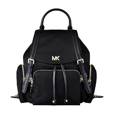 MK MICHAEL KORS BEACON金LOGO尼龍金鏈釦式束口後背包(中/黑)