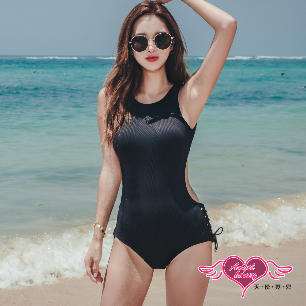 泳衣 刷紋曲線 性感露背一件式連身泳裝(黑M~XL)AngelHoney天使霓裳