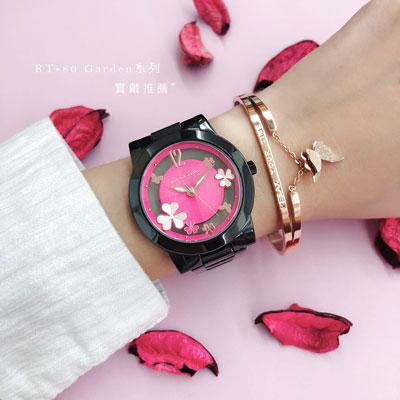 RELAX TIME Garden系列 鏤空陶瓷腕錶 RT-80-8 黑X桃紅/38mm