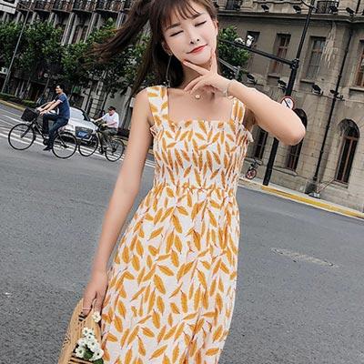 清新葉子印花高腰吊帶長洋裝 (共二色)-Kugi Girl