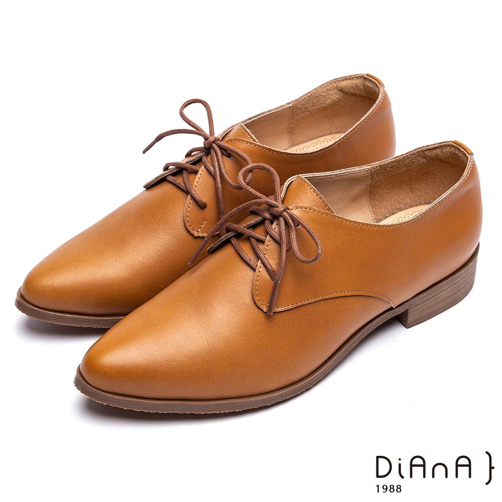 DIANA 漫步雲端厚切焦糖美人-英倫時尚質感素雅綁帶休閒鞋-棕