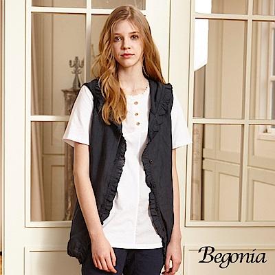 Begonia 布蕾絲滾邊拼接柔棉上衣(共兩色)