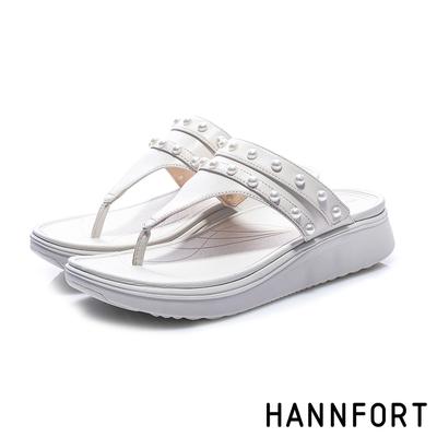HANNFORT Ultra Comf 4D 珍珠羊皮厚底拖鞋 女 白