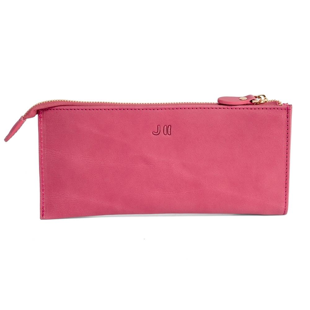 J II 長夾-薄款歐洲植鞣革多卡層長夾-草莓粉-5301-3