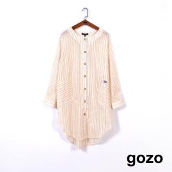 gozo-落肩條紋襯衫洋裝(米黃)