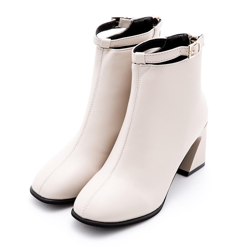 River&Moon韓系簍空皮帶扣方頭造型粗跟靴 米白