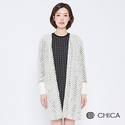 CHICA 經典赫本人字紋圈圈毛料大衣(2色)